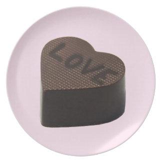 LOVE CHOKOLATES, CHOCOLATE HEART , STRAWBERRY PINK PLATE