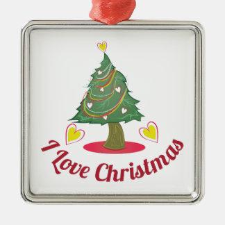 Love Christmas Silver-Colored Square Ornament