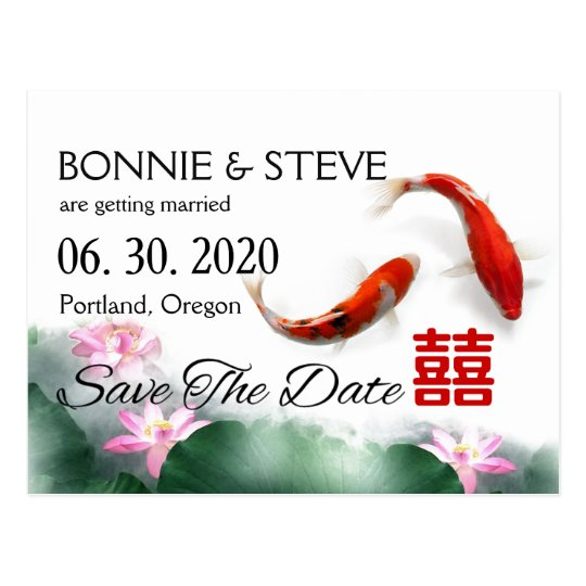 Love Circles | Lotus Koi Double XI Save The Date Postcard