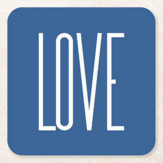 Love Classic Blue Square Paper Coaster