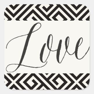 Love Classic Script Geometric Wedding Stickers