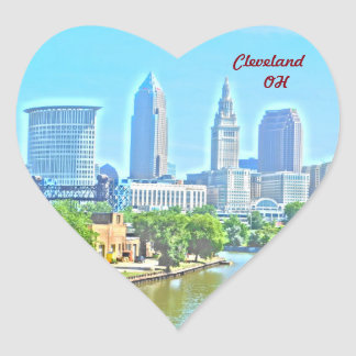 Love Cleveland OH (River View) Heart Sticker