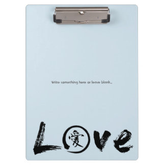 Love clipboards with kanji and enso circle