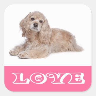 Love Cocker Spaniel Puppy Pink Dog Stickers