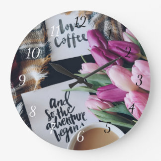 Love Coffee and so the Adventure Begins Clock