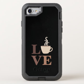 Love Coffee in black OtterBox Defender iPhone 7 Case
