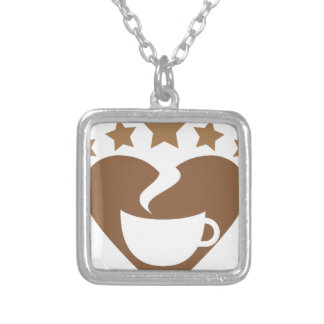 Love coffee silver plated necklace