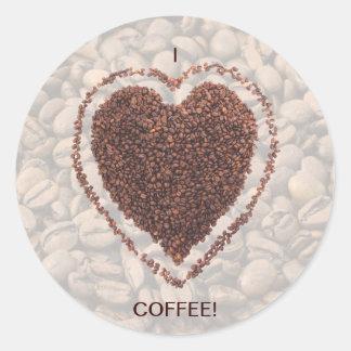 Love Coffee Round Stickers
