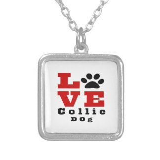 Love Collie Dog Designes Silver Plated Necklace