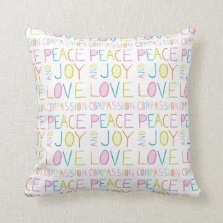 Love, Compassion, Peace, Joy Throw Pillows