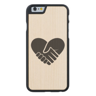 Love Connected black heart Carved Maple iPhone 6 Case