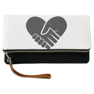 Love Connected black heart Clutch