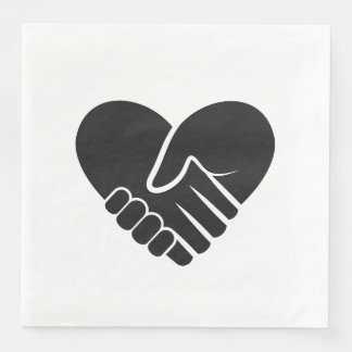Love Connected black heart Paper Dinner Napkin