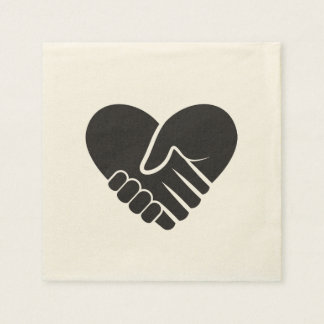 Love Connected black heart Paper Napkin