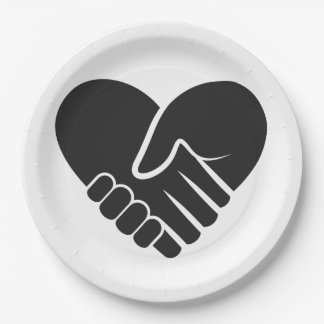 Love Connected black heart Paper Plate