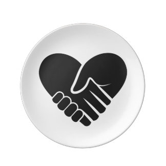 Love Connected black heart Plate