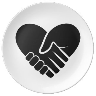 Love Connected black heart Porcelain Plates