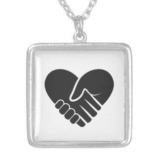Love Connected black heart Silver Plated Necklace