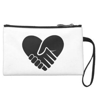 Love Connected black heart Suede Wristlet