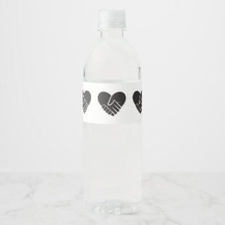Love Connected black heart Water Bottle Label