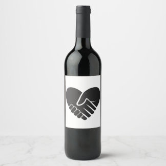 Love Connected black heart Wine Label