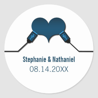Love Connection USB Wedding Stickers, Blue