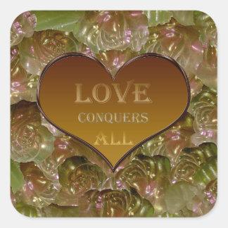 Love Conquers All Gold Flora Square Sticker