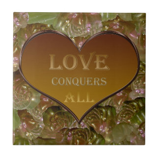 Love Conquers All Gold Flora Tile