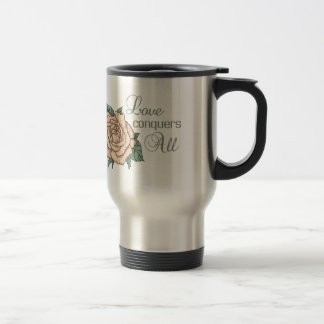 LOVE CONQUERS ALL STAINLESS STEEL TRAVEL MUG