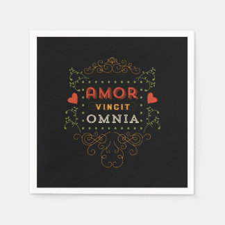 Love Conquers All - Vintage Latin Typography Disposable Napkins