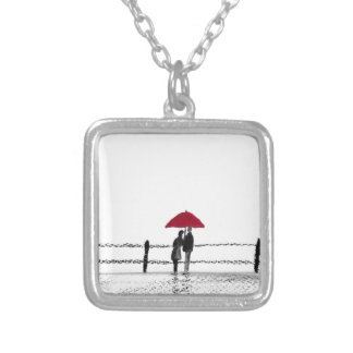 Love couple anniversary silver plated necklace