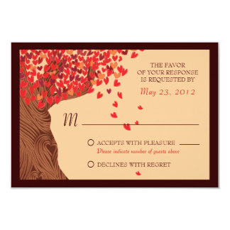 Love Couple Falling Hearts Oak Tree RSVP Card