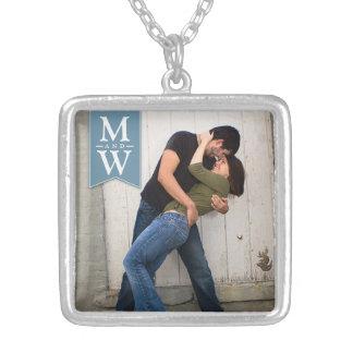Love Couple Photo & Initials Monogram Necklace