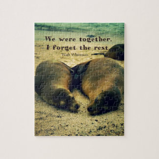 Love couple quote sea lions on the beach jigsaw puzzle