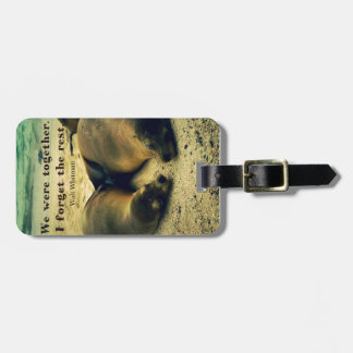 Love couple quote sea lions on the beach luggage tag