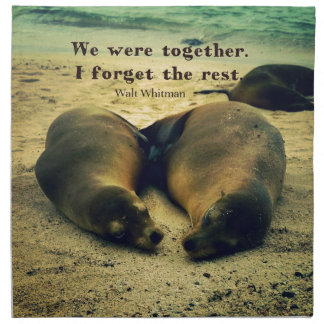 Love couple quote sea lions on the beach napkin