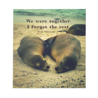 Love couple quote sea lions on the beach notepad
