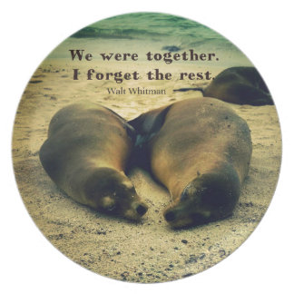 Love couple quote sea lions on the beach party plates