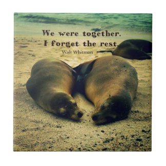 Love couple quote sea lions on the beach tile