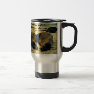 Love couple quote sea lions on the beach travel mug