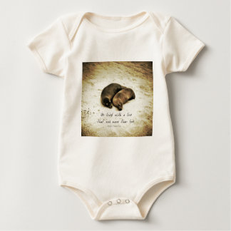 Love couple romantic quote sea lions on the beach baby bodysuit