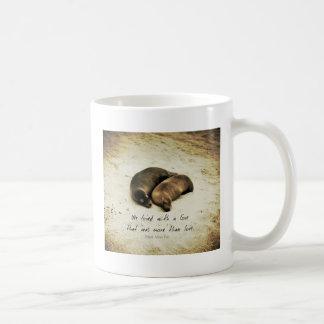 Love couple romantic quote sea lions on the beach coffee mug