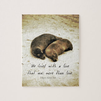 Love couple romantic quote sea lions on the beach jigsaw puzzle