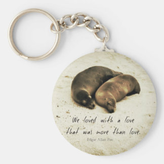 Love couple romantic quote sea lions on the beach keychain
