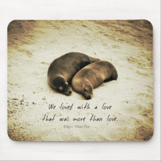 Love couple romantic quote sea lions on the beach mouse pad