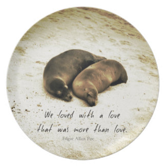Love couple romantic quote sea lions on the beach plate