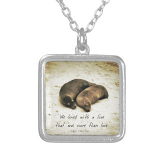 Love couple romantic quote sea lions on the beach silver plated necklace