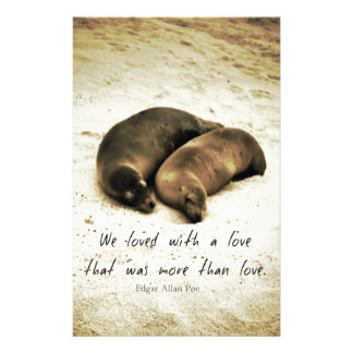 Love couple romantic quote sea lions on the beach stationery