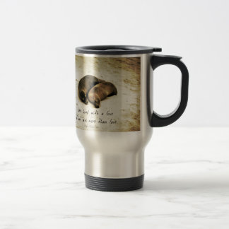 Love couple romantic quote sea lions on the beach travel mug