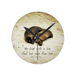 Love couple romantic quote sea lions on the beach wallclocks